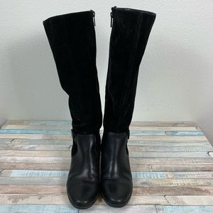 Anne Klein Akjoetta Black Suede Leather Boots